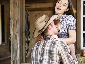 Sexy Cowgirl Fucked By Her Cowboy On A Bale Of Hay