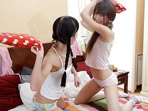 Pillow Fighting Lesbian Teens Have Huge Dildo Sex
