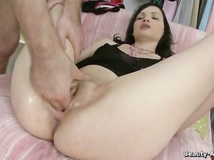 Pussy Stretching Toy Readies A Teen Slut For His Dick