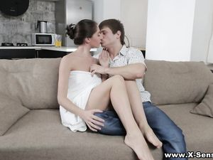 Making Love To A Lean Brunette Teen Makes Him Cum