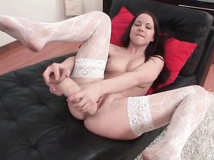 White Stockings On The Sexy Teen Fucking Big Toys