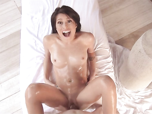 Petite Slut Sucks His Huge Cock And Rides It Hardcore