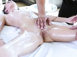 Tiny Oiled Up Brunette Teen Fucked By Her Masseur