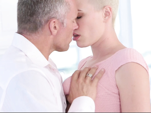 Shaved Head Beauty Fucks The Horny Older Man